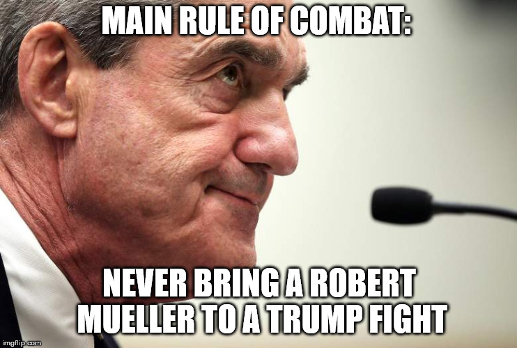MAIN RULE OF COMBAT: NEVER BRING A ROBERT MUELLER TO A TRUMP FIGHT | image tagged in robert mueller | made w/ Imgflip meme maker