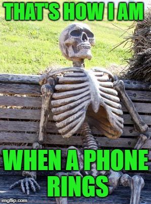 Waiting Skeleton Meme | THAT'S HOW I AM WHEN A PHONE RINGS | image tagged in memes,waiting skeleton | made w/ Imgflip meme maker