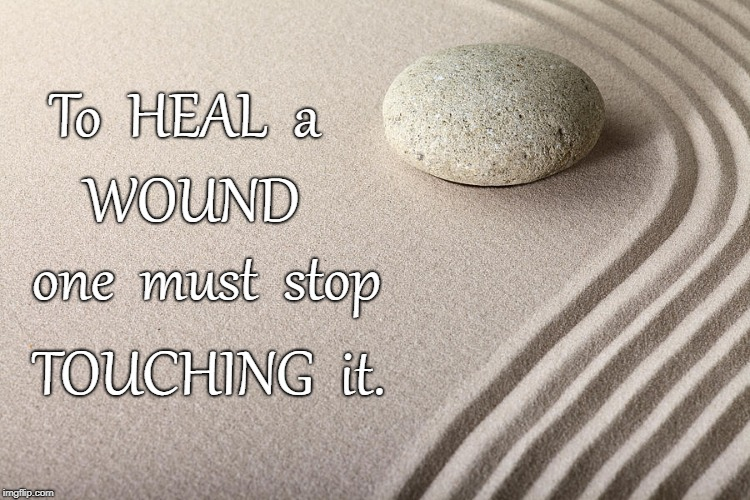 To Heal a Wound... | To  HEAL  a TOUCHING  it. WOUND one  must  stop | image tagged in heal,wound,stop touching wound | made w/ Imgflip meme maker