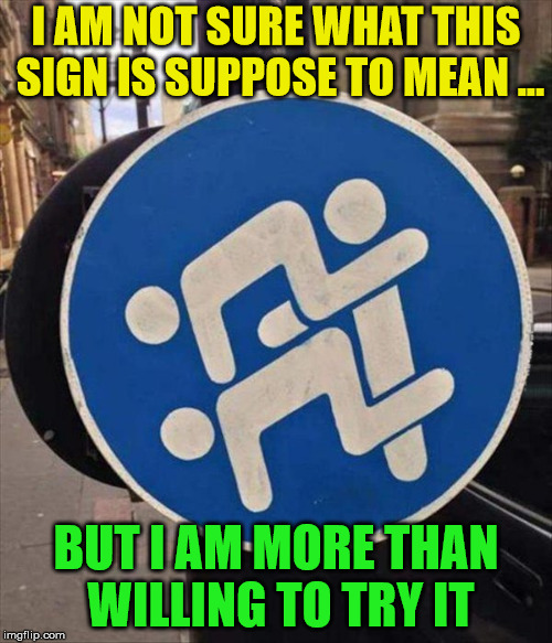 Interesting sign | I AM NOT SURE WHAT THIS SIGN IS SUPPOSE TO MEAN ... BUT I AM MORE THAN WILLING TO TRY IT | image tagged in memes,sign,funny,humor | made w/ Imgflip meme maker