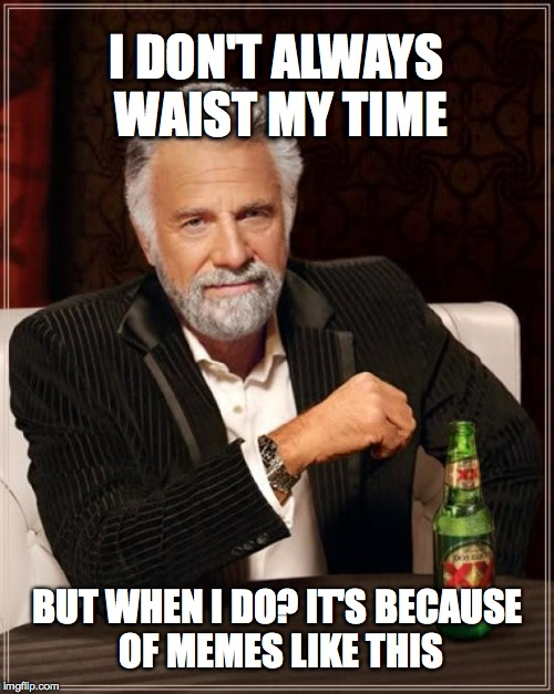 The Most Interesting Man In The World Meme | I DON'T ALWAYS WAIST MY TIME BUT WHEN I DO? IT'S BECAUSE OF MEMES LIKE THIS | image tagged in memes,the most interesting man in the world | made w/ Imgflip meme maker