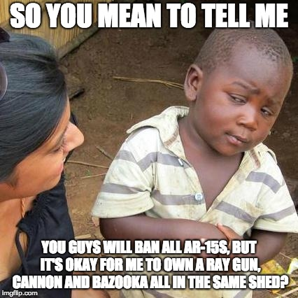 Third World Skeptical Kid Meme | SO YOU MEAN TO TELL ME YOU GUYS WILL BAN ALL AR-15S, BUT IT'S OKAY FOR ME TO OWN A RAY GUN, CANNON AND BAZOOKA ALL IN THE SAME SHED? | image tagged in memes,third world skeptical kid | made w/ Imgflip meme maker