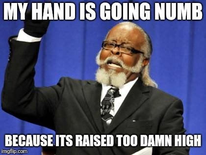 Too Damn High Meme | MY HAND IS GOING NUMB BECAUSE ITS RAISED TOO DAMN HIGH | image tagged in memes,too damn high | made w/ Imgflip meme maker