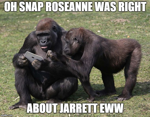 apesarepissed | OH SNAP ROSEANNE WAS RIGHT ABOUT JARRETT EWW | image tagged in rosie | made w/ Imgflip meme maker