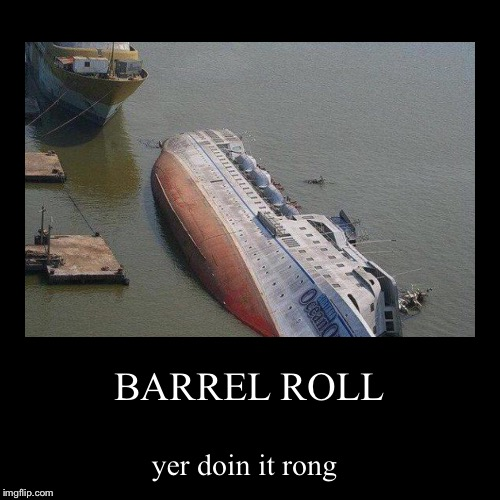 BARREL ROLL | yer doin it rong | image tagged in funny,demotivationals | made w/ Imgflip demotivational maker
