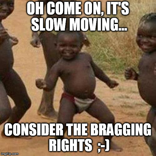 Third World Success Kid Meme | OH COME ON, IT'S SLOW MOVING... CONSIDER THE BRAGGING RIGHTS  ;-) | image tagged in memes,third world success kid | made w/ Imgflip meme maker