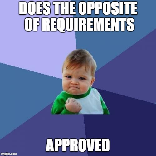 Success Kid Meme | DOES THE OPPOSITE OF REQUIREMENTS APPROVED | image tagged in memes,success kid | made w/ Imgflip meme maker