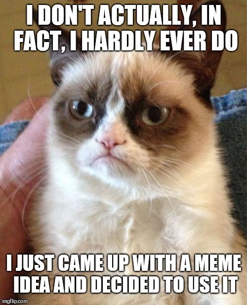 Grumpy Cat Meme | I DON'T ACTUALLY, IN FACT, I HARDLY EVER DO I JUST CAME UP WITH A MEME IDEA AND DECIDED TO USE IT | made w/ Imgflip meme maker