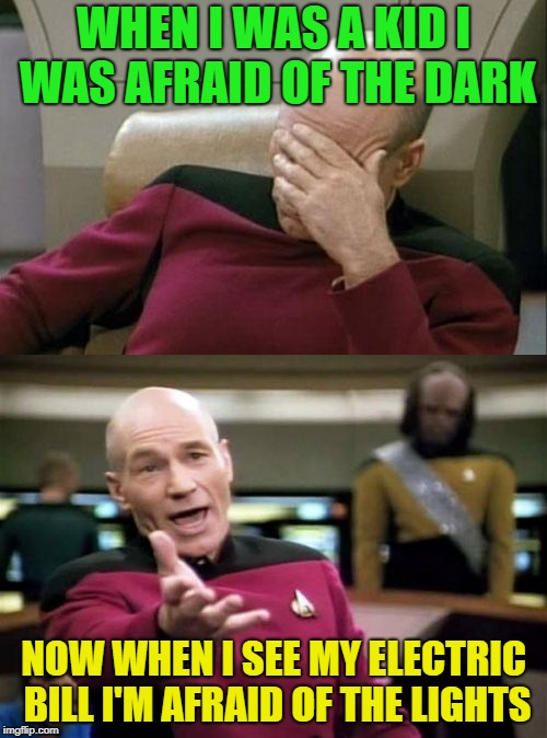 Oh how things change... | WHEN I WAS A KID I WAS AFRAID OF THE DARK NOW WHEN I SEE MY ELECTRIC BILL I'M AFRAID OF THE LIGHTS | image tagged in picard wtf,captain picard facepalm,memes,funny,electricity | made w/ Imgflip meme maker