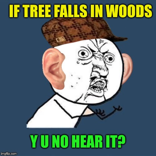 IF TREE FALLS IN WOODS Y U NO HEAR IT? | made w/ Imgflip meme maker