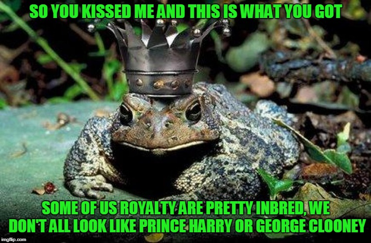 now I'm gonna hop off to my hot date with Meghan's sister (Frog Week, June 4-10, a JBmemegeek & giveuahint production) | SO YOU KISSED ME AND THIS IS WHAT YOU GOT SOME OF US ROYALTY ARE PRETTY INBRED, WE DON'T ALL LOOK LIKE PRINCE HARRY OR GEORGE CLOONEY | image tagged in frog week,memes,frogs,prince | made w/ Imgflip meme maker