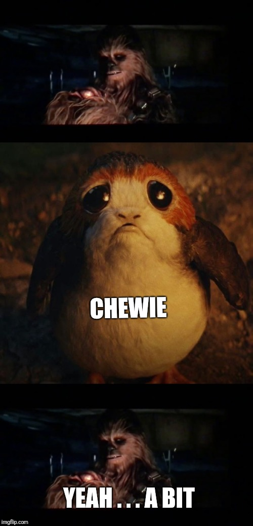Porg | CHEWIE YEAH . . . A BIT | image tagged in star wars porg | made w/ Imgflip meme maker
