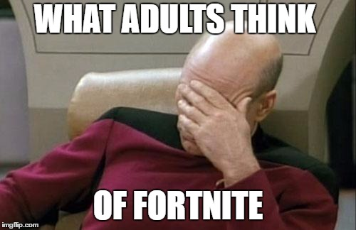 Captain Picard Facepalm Meme | WHAT ADULTS THINK OF FORTNITE | image tagged in memes,captain picard facepalm | made w/ Imgflip meme maker