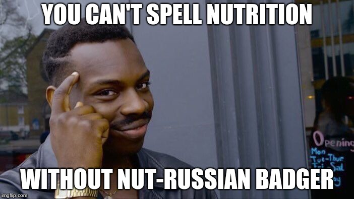 Roll Safe Think About It Meme | YOU CAN'T SPELL NUTRITION WITHOUT NUT-RUSSIAN BADGER | image tagged in memes,roll safe think about it | made w/ Imgflip meme maker