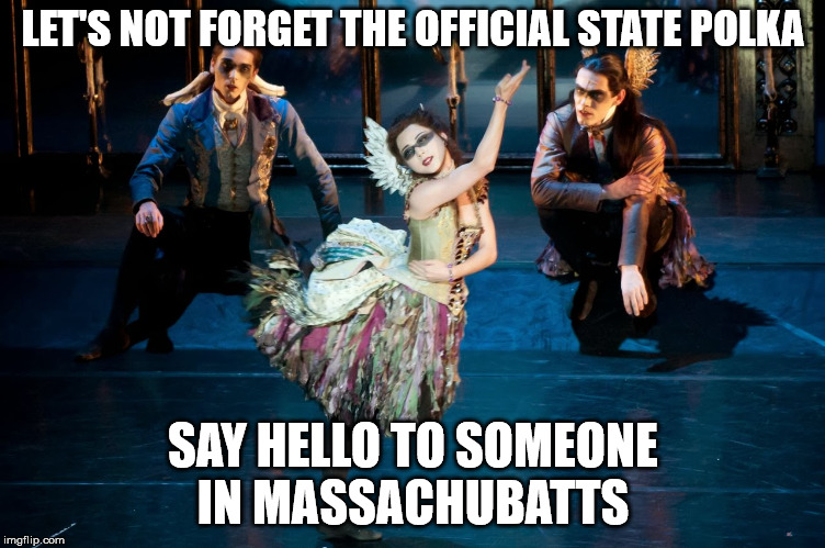 LET'S NOT FORGET THE OFFICIAL STATE POLKA SAY HELLO TO SOMEONE IN MASSACHUBATTS | made w/ Imgflip meme maker