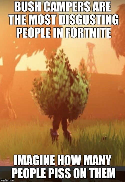 Fortnite bush | BUSH CAMPERS ARE THE MOST DISGUSTING PEOPLE IN FORTNITE IMAGINE HOW MANY PEOPLE PISS ON THEM | image tagged in fortnite bush | made w/ Imgflip meme maker