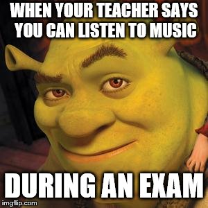 Teachers during finals  | WHEN YOUR TEACHER SAYS YOU CAN LISTEN TO MUSIC DURING AN EXAM | image tagged in sexy,shrek | made w/ Imgflip meme maker