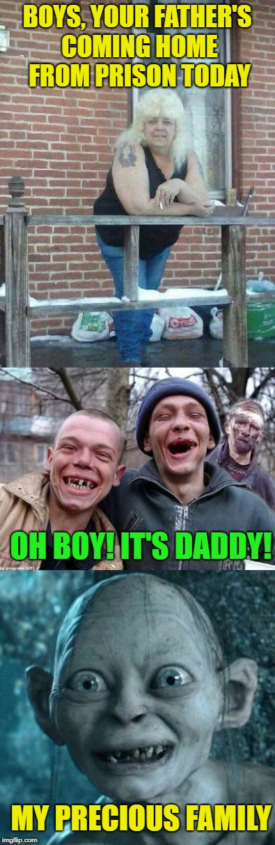 Family Reunion | BOYS, YOUR FATHER'S COMING HOME FROM PRISON TODAY OH BOY! IT'S DADDY! MY PRECIOUS FAMILY | image tagged in funny memes,redneck,people,gollum,ugly twins | made w/ Imgflip meme maker
