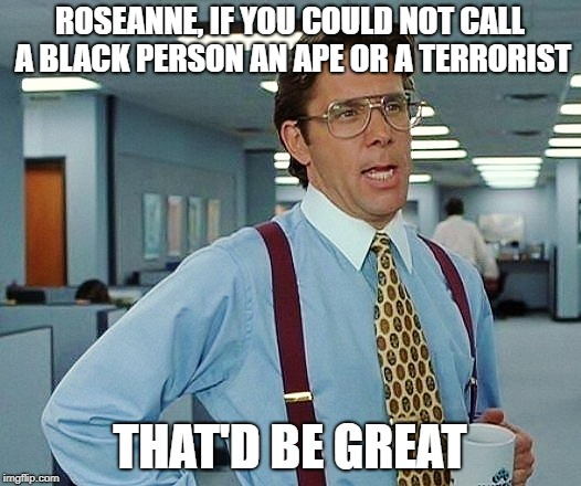 That'd Be Great | ROSEANNE, IF YOU COULD NOT CALL A BLACK PERSON AN APE OR A TERRORIST THAT'D BE GREAT | image tagged in that'd be great | made w/ Imgflip meme maker
