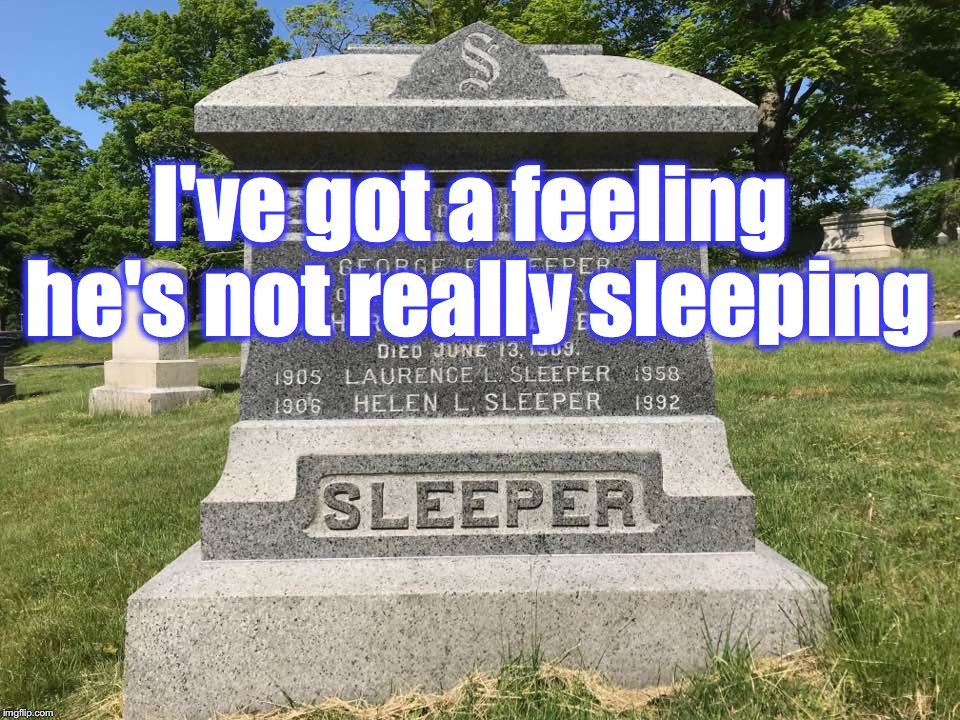 I've got a feeling he's not really sleeping | image tagged in gravestone | made w/ Imgflip meme maker