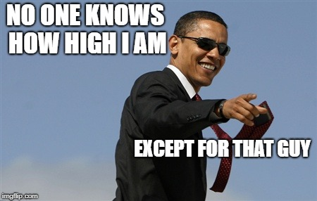 Cool Obama | NO ONE KNOWS HOW HIGH I AM EXCEPT FOR THAT GUY | image tagged in memes,cool obama | made w/ Imgflip meme maker