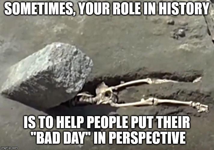 "#IFledtheAshthatBuriedPompeiiOnlytobeCrushedbyaRock | SOMETIMES, YOUR ROLE IN HISTORY IS TO HELP PEOPLE PUT THEIR ""BAD DAY"" IN PERSPECTIVE 