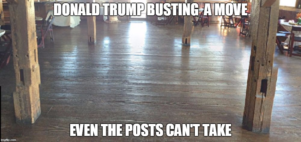 Horrified Wood, Honey Bend, IL  | DONALD TRUMP BUSTING  A MOVE EVEN THE POSTS CAN'T TAKE | image tagged in memes,horror,usa,omg,faces,trump | made w/ Imgflip meme maker