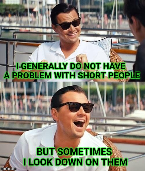 Leonardo Dicaprio Wolf Of Wall Street | I GENERALLY DO NOT HAVE A PROBLEM WITH SHORT PEOPLE BUT SOMETIMES I LOOK DOWN ON THEM | image tagged in memes,leonardo dicaprio wolf of wall street,short | made w/ Imgflip meme maker