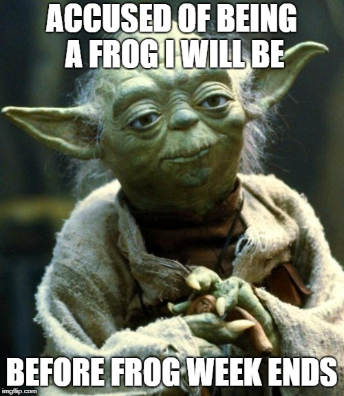 Star Wars Yoda Meme | ACCUSED OF BEING A FROG I WILL BE BEFORE FROG WEEK ENDS | image tagged in memes,star wars yoda | made w/ Imgflip meme maker