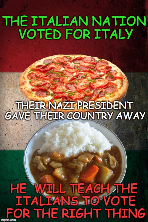 Italian Democracy | THE ITALIAN NATION VOTED FOR ITALY HE  WILL TEACH THE ITALIANS TO VOTE FOR THE RIGHT THING THEIR NAZI PRESIDENT GAVE THEIR COUNTRY AWAY | image tagged in italian democracy,pizza,italy,eu,brexit | made w/ Imgflip meme maker