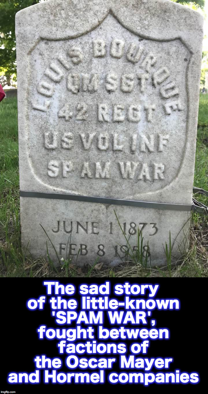 spam spam spam spam.... wonderful spam | The sad story of the little-known 'SPAM WAR', fought between factions of the Oscar Mayer and Hormel companies | image tagged in gravestone,spam | made w/ Imgflip meme maker