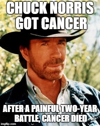 Cancer was brave, but it was never any match for THE CHUCK!!! | CHUCK NORRIS GOT CANCER AFTER A PAINFUL TWO-YEAR BATTLE, CANCER DIED | image tagged in memes,chuck norris,spursfanfromaround,dank memes,funny,bad puns | made w/ Imgflip meme maker