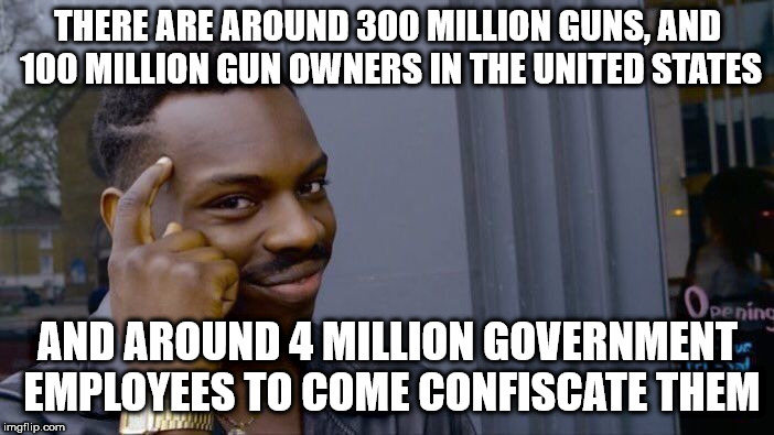 Roll Safe Think About It Meme | THERE ARE AROUND 300 MILLION GUNS, AND 100 MILLION GUN OWNERS IN THE UNITED STATES AND AROUND 4 MILLION GOVERNMENT EMPLOYEES TO COME CONFISC | image tagged in memes,roll safe think about it | made w/ Imgflip meme maker