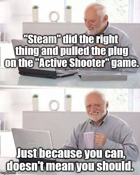 "STEAM  | ""Steam"" did the right thing and pulled the plug on the ""Active Shooter"" game. Just because you can, doesn't mean you should. 