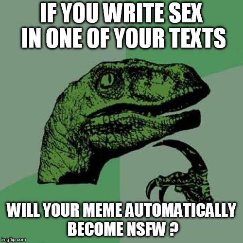 Yes, it does, damn it... | IF YOU WRITE SEX IN ONE OF YOUR TEXTS WILL YOUR MEME AUTOMATICALLY BECOME NSFW ? | image tagged in memes,philosoraptor,sex,nsfw | made w/ Imgflip meme maker