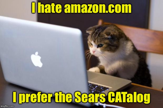 Cat pun | I hate amazon.com I prefer the Sears CATalog | image tagged in cat using computer,memes,cats,online shopping | made w/ Imgflip meme maker