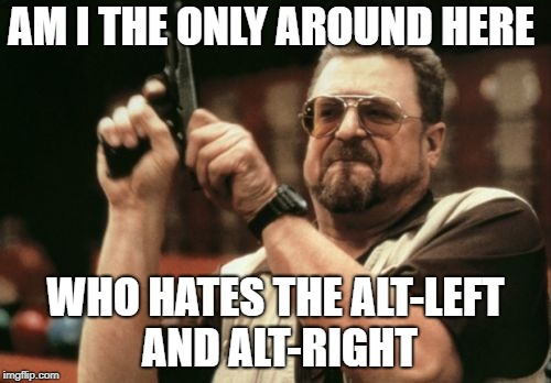 Am I The Only One Around Here | AM I THE ONLY AROUND HERE WHO HATES THE ALT-LEFT AND ALT-RIGHT | image tagged in memes,am i the only one around here | made w/ Imgflip meme maker
