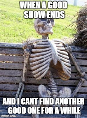 Waiting Skeleton Meme | WHEN A GOOD SHOW ENDS AND I CANT FIND ANOTHER GOOD ONE FOR A WHILE | image tagged in memes,waiting skeleton | made w/ Imgflip meme maker