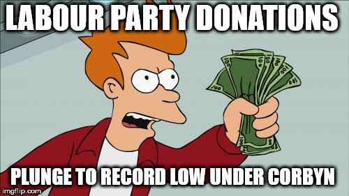 Labour party donations plunge to record low under Corbyn | LABOUR PARTY DONATIONS PLUNGE TO RECORD LOW UNDER CORBYN | image tagged in memes,corbyn eww,party of hate,communist socialist,funny,mcdonnell abbott | made w/ Imgflip meme maker