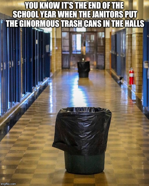 Sarah Wentworth | YOU KNOW IT'S THE END OF THE SCHOOL YEAR WHEN THE JANITORS PUT THE GINORMOUS TRASH CANS IN THE HALLS | image tagged in sarah wentworth | made w/ Imgflip meme maker