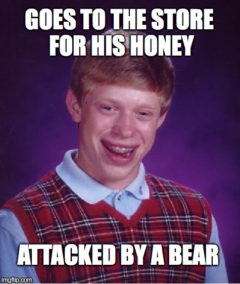 Bad Luck Brian Meme | GOES TO THE STORE FOR HIS HONEY ATTACKED BY A BEAR | image tagged in memes,bad luck brian | made w/ Imgflip meme maker