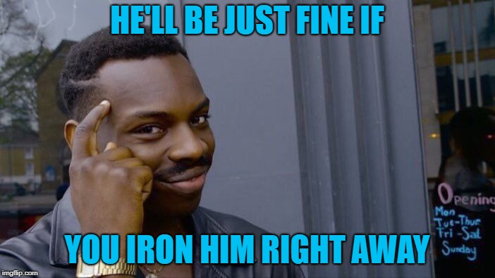 Roll Safe Think About It Meme | HE'LL BE JUST FINE IF YOU IRON HIM RIGHT AWAY | image tagged in memes,roll safe think about it | made w/ Imgflip meme maker