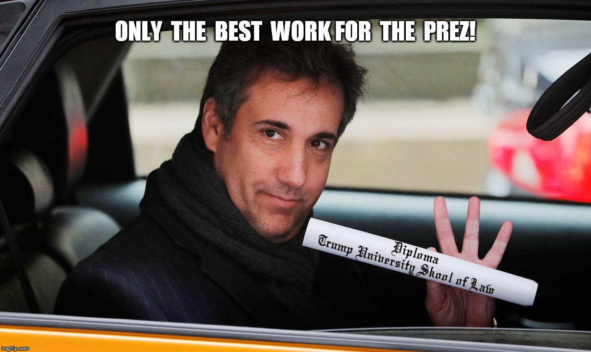 Lawyer of the Year | ONLY  THE  BEST  WORK FOR  THE  PREZ! | image tagged in cohen,trump university | made w/ Imgflip meme maker