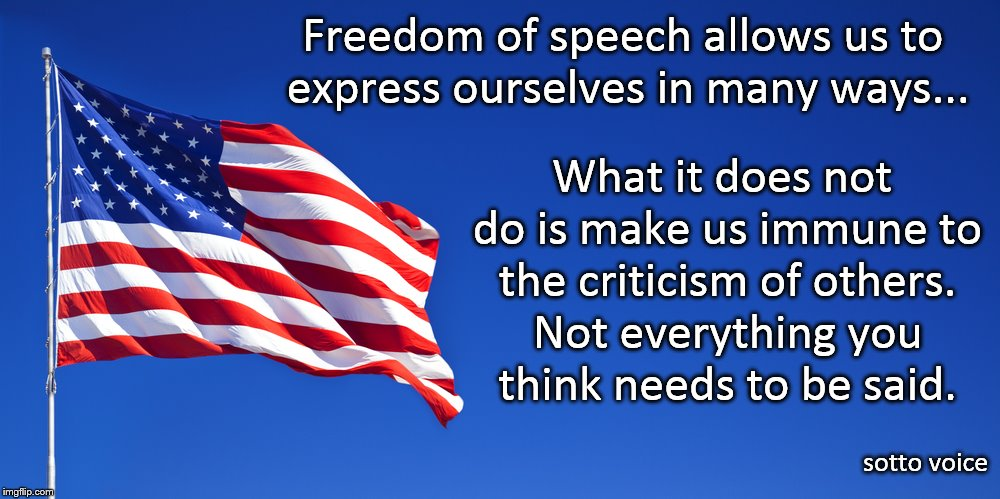 Freedom of Speech | Freedom of speech allows us to express ourselves in many ways... sotto voice What it does not do is make us immune to the criticism of other | image tagged in freedom | made w/ Imgflip meme maker