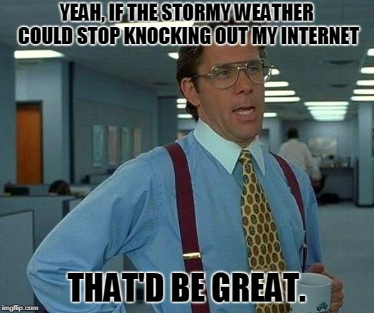 I wish we had better service in this area! Even a cell phone signal is hit or miss! | YEAH, IF THE STORMY WEATHER COULD STOP KNOCKING OUT MY INTERNET THAT'D BE GREAT. | image tagged in memes,that would be great,nixieknox | made w/ Imgflip meme maker
