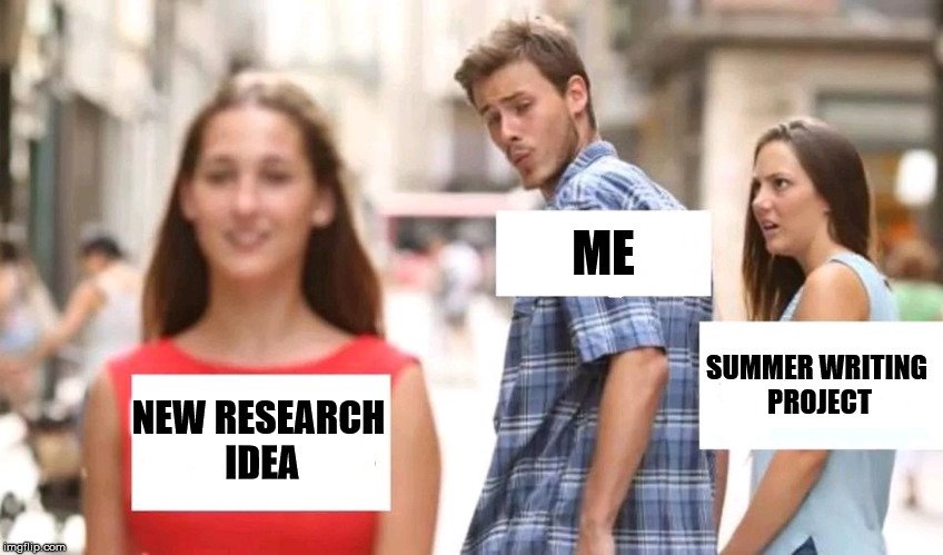 Summer Research | NEW RESEARCH IDEA ME SUMMER WRITING PROJECT | image tagged in distracted boyfriend,summer,research,writing,project,summer writing | made w/ Imgflip meme maker