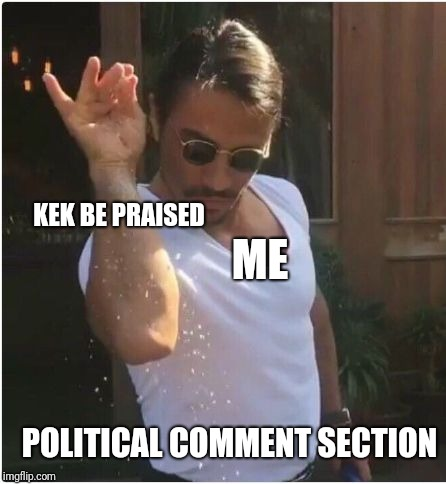 Sprinkle | ME KEK BE PRAISED POLITICAL COMMENT SECTION | image tagged in sprinkle | made w/ Imgflip meme maker