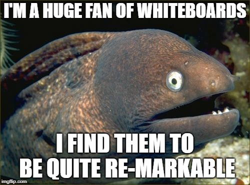 Bad Joke Eel Meme | I'M A HUGE FAN OF WHITEBOARDS I FIND THEM TO BE QUITE RE-MARKABLE | image tagged in memes,bad joke eel,trhtimmy | made w/ Imgflip meme maker