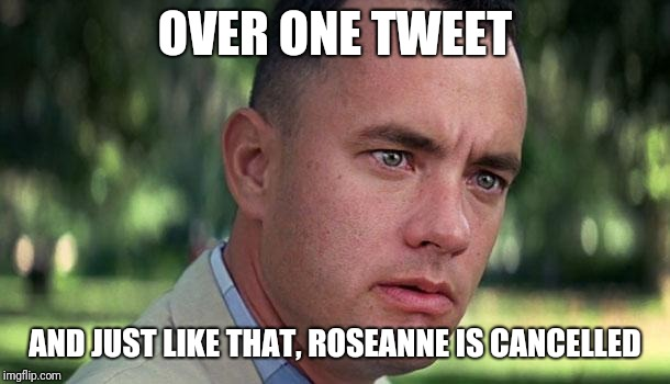 Forest Gump | OVER ONE TWEET AND JUST LIKE THAT, ROSEANNE IS CANCELLED | image tagged in forest gump | made w/ Imgflip meme maker