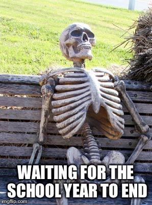 Waiting......... | WAITING FOR THE SCHOOL YEAR TO END | image tagged in memes,waiting skeleton,school,i hate school | made w/ Imgflip meme maker